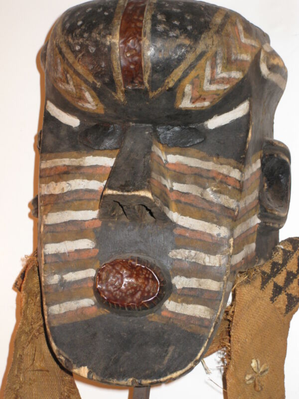 FINE CARVED WOOD CEREMONIAL TRIBAL MASK* AFRICAN *PAINTED+METAL+CLOTH+SHELLS*
