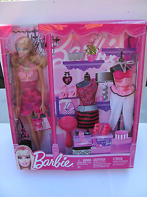 Barbie Doll With Clothes, Shoes, Purse & Brush In Box