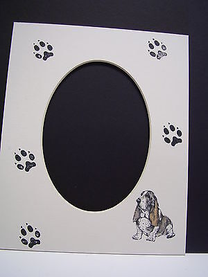 Picture Frame Mats 8x10 For 5x7 Basset Hound Hand-colored Mat