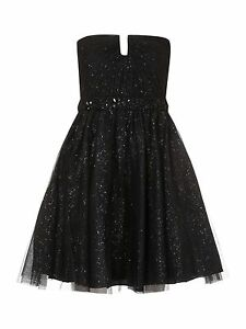 JS-Boutique-RRP-160-Designer-Black-Glitter-Net-Prom-Party-Cocktail-Dress-BNWT