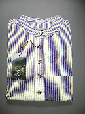Small Irish Lee Valley Grandfather Shirt Men's Cotton Navy Green Stripe S