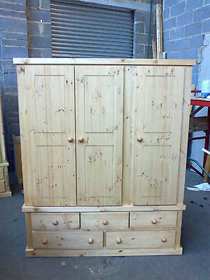 Old Mill Pine Factory Direct Triple 5 Drawer Wardrobe Rustic Wax No Flat Packs