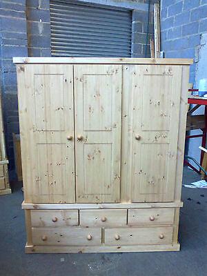 Old Mill Pine Factory Direct Triple 5 Drawer Wardrobe Rustic Wax No Flat Packs