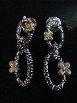 Barbara Bixby Couture Earrings Ss 18k Silver Gold Diamond Designer Gift