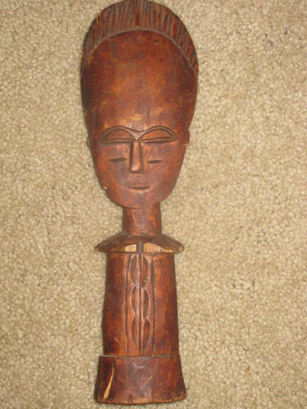 "UNUSUAL AFRICAN CARVED WOOD 10"" HEAD BODY STATUE *UNKNOWN TRIBE* ORNATE DISPLAY"