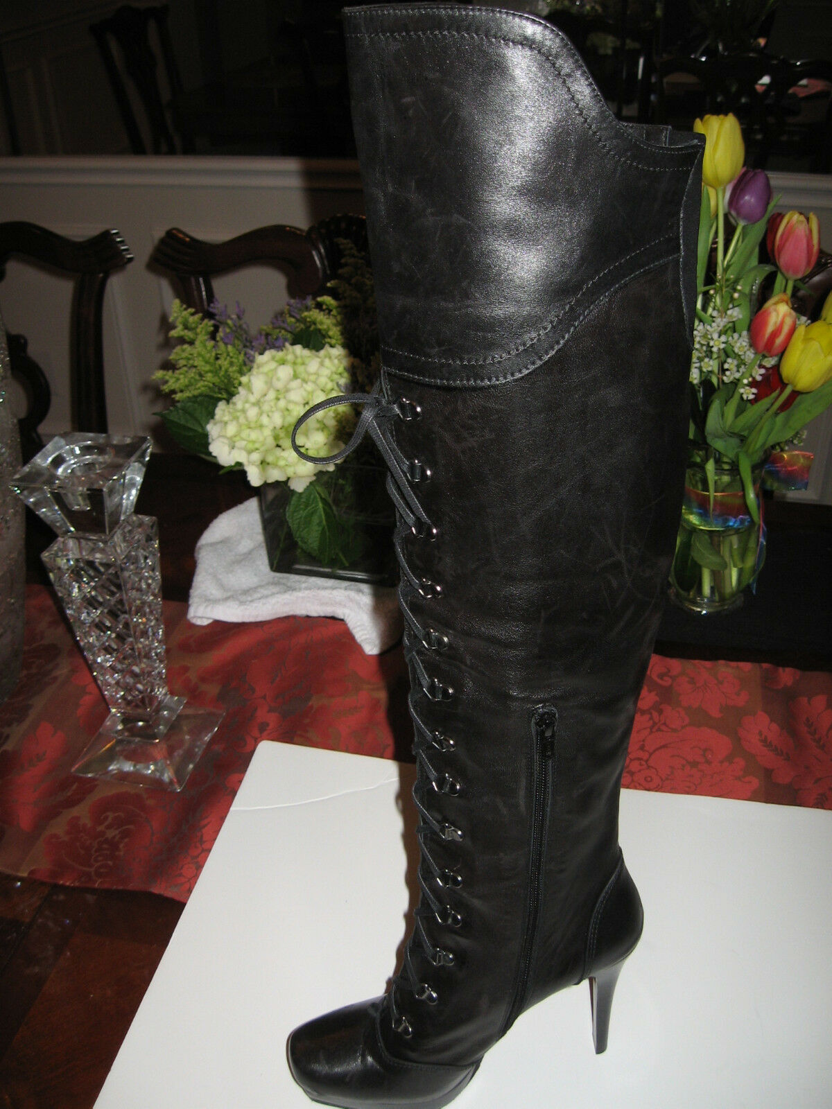 Stuart Weitzman Black Leather Stilettos Lace Up Boots In The Original Box