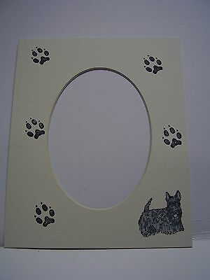 Picture Frame Mats 8x10 For 5x7 Black Scottie Dog Hand-colored Mat