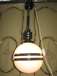 lustre suspension boule de verre opaline style art deco n 236 ebay. Black Bedroom Furniture Sets. Home Design Ideas