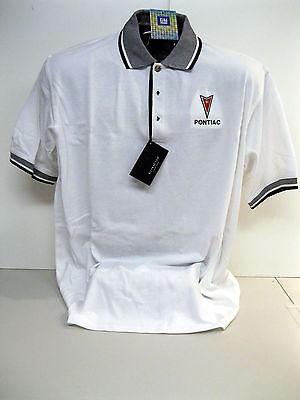 Gm Licensed Pontiac Arrow Head White/black Polo Shirts