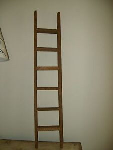 Primitive country rustic small old barnwood ladder shelf - Reclaimed wood ladder shelf ...