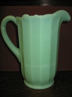 Large Jadeite Jade Green Glass water serving Pitcher jadite milk / Panel Pattern