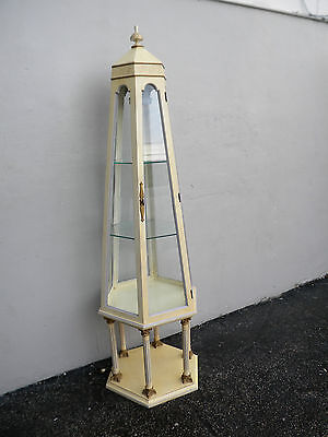 Hollywood Regency Tall Painted Glass Hexagonal Display Cabinet with a Light 2729
