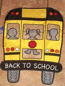 Applique-Mini-Back-to-School-Flag-School-Bus-Classroom-Yard-Garden-Home-Decor