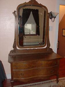Antique Tiger Oak Serpentine Princess Dresser Dressing