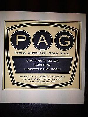 FOGLIA ORO FINO 23 KT libretto da 25 Fogli, Paolo Angeletti Gold !!! PAG 80x80MM
