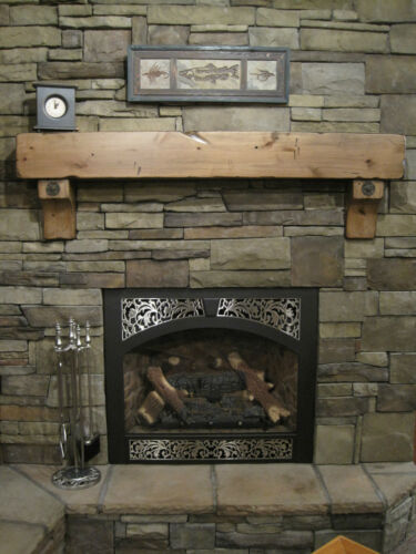 Rustic Knotty Alder Salvaged Beam Fireplace Mantel Large Antique Washers & Bolts