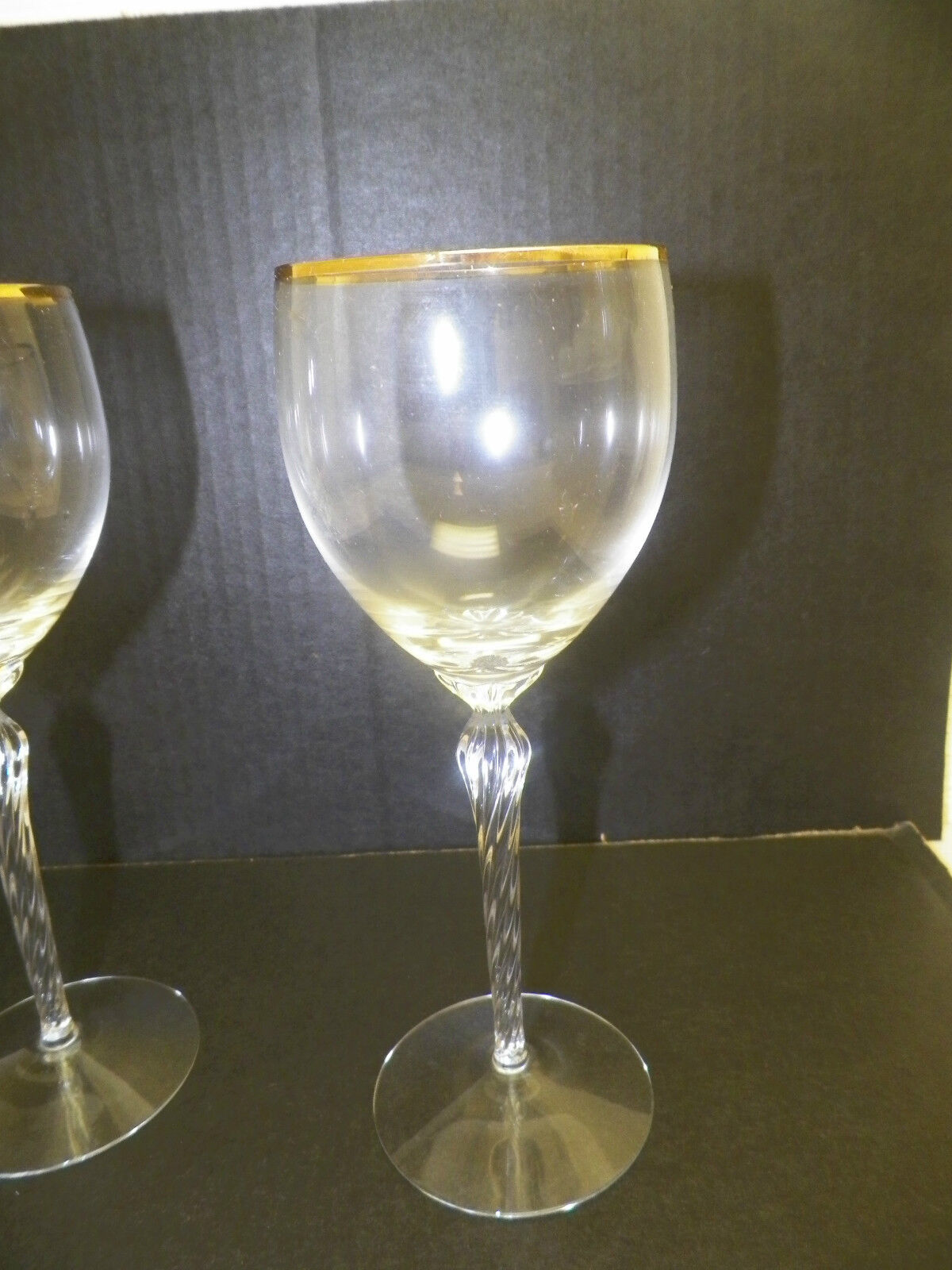 Lenox crystal stemware gold rim wine glasses 8 1 2 tall pair two 2 used picclick - Lenox gold rimmed wine glasses ...
