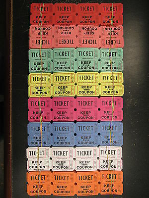 500 Raffle Tickets 50/50 Double Stub Split The Pot 8 Colors 1/4 Roll Folded