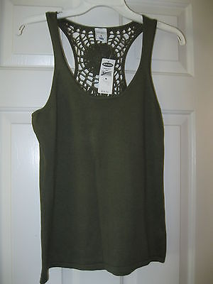 Ladies Army Green Crochet Old Navy Tank Top Size M