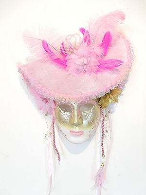 Pink Gold Hat Jolly Venetian Masquerade Mask Mardi Gras Carneval Party Masks C35