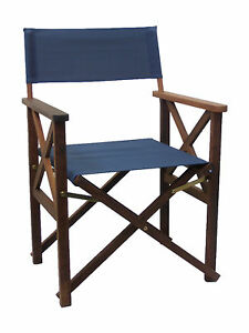 NEW Timber Directors Chair Blue Director Folding Outdoor Furniture Deck Chair
