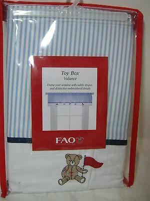 Fao Schwarz Toy Box Window Valance 60x14 Embroidered/stripe Blue/white