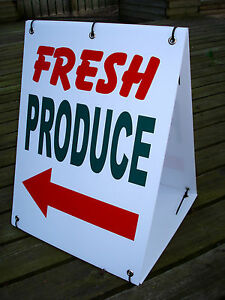 FRESH-PRODUCE-with-ARROW-Sandwich-Board-Sign-Kit-NEW-Red-Green-White