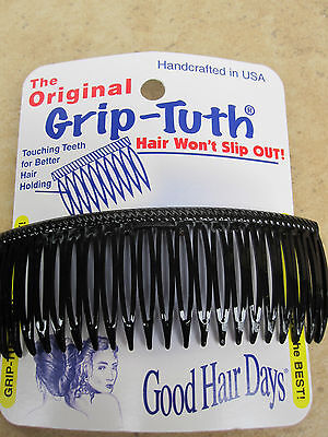 """4"""" Black Grip-Tuth Frenchy Side Comb  21 TouchingTeeth NEW  Made in USA"""
