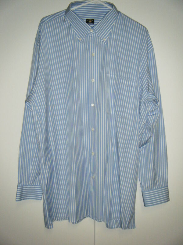 MENS MADE IN ITALY LONG SLEEVE 100% COTTON DRESS SHIRT 2XL NEW BLUE & WHITE