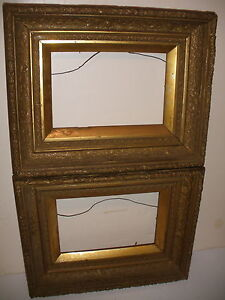 PAIR-OF-NICE-ANTIQUE-WOOD-PICTURE-FRAMES-FRAME-14-034-X-11-034-OPENING-9-034-X6-034