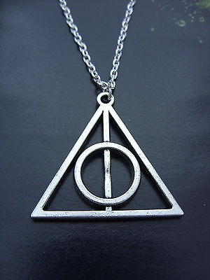 A Silver Tone Harry Potter The Deathly Hallows Charm Pendant Chain Necklace