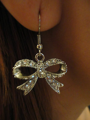 Silver Bow Diamond Earrings Perfect Accessory