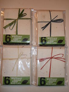 6 Handmade Wild Flower Seeded Paper Notelets inc Envs, Note Paper by JUSTSOWRITE