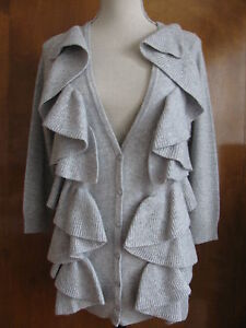 New-Sutton-Studio-womens-wool-cashmere-buttoned-ruffle-gray-cardigan-Large-228