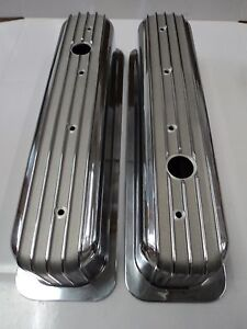 SBC CENTER BOLT FINNED ALUMINUM VALVE COVERS FITS SB CHEVY 305 350 383 86 - UP
