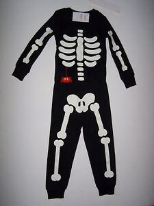 NWT GYMBOREE SKELETON GLOW PAJAMAS GYMMIES ORANGE SPIDER HALLOWEEN ...