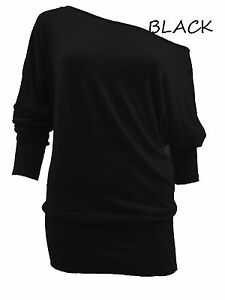 WOMENS ONE OFF SHOULDER BATWING LONG SLEEVE T-SHIRT TOP-SIZE 8,10,12,14-NEW BNWT