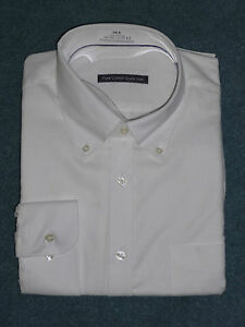 Mens 100% Cotton Oxford Weave Button Down Collar Long Sleeve Shirt
