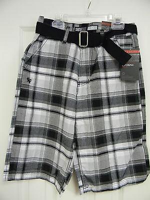 Boy's South Pole Southpole Authentic black Plaid Shorts Rn82628