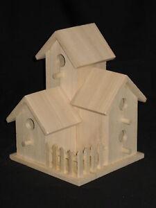 Birdhouse, Unfinished Wood, Multi-Level, Very Nice