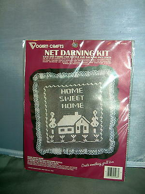 Net Darning Pillow Kit Brown Tone Home Sweet Home Sealed