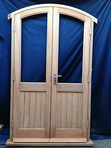 Solid Wooden Timber Arched French Doors Hung In Hardwood Frame Made To Measure Ebay