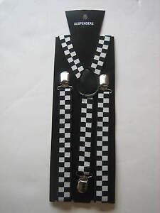 Checkered Braces Ska / Policeman, Fancy Dress, Rave, Punk * Free Postage *