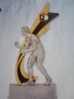 Wrestling Trophy, Wrestler Featured, Headgear, With Engraving, About 8 High