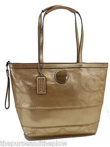 NEW! COACH LEATHER HANDBAG SIGNATURE STITCHED METALLIC TOTE ANTIQUE GOLD NWT