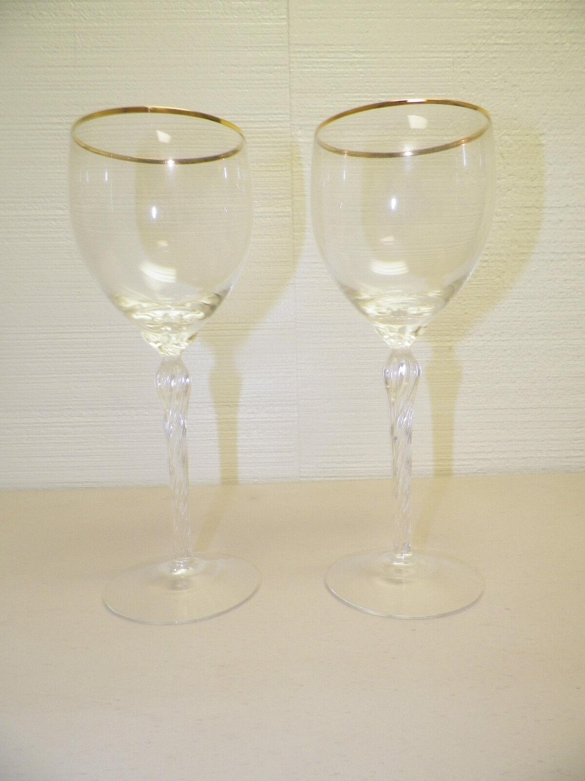 Lenox Crystal Stemware Gold Rim Wine Glasses 8 1 2 Tall Pair Two 2 Used Cad