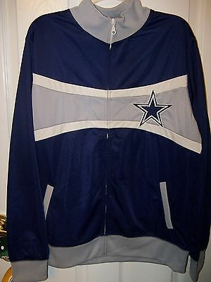 Dallas Cowboys Navy Blue Gray Full Zip Up Zipper Jacket Mens Size Small