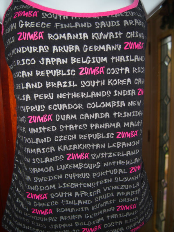 Zumba International Top IN BLACK- Large- buy a shirt and save a dog 100% charity