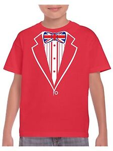 Kids-Tuxedo-T-Shirt-With-Union-Jack-Flag-Bow-Tie-School-event-Fancy-Dress