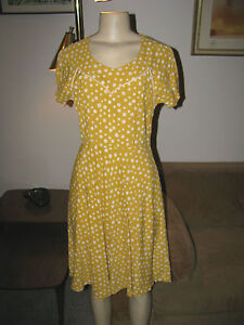 Vintage-1940s-Womens-Mustard-Yellow-Rayon-Polka-Dot-Dress-Swing-Rockabilly